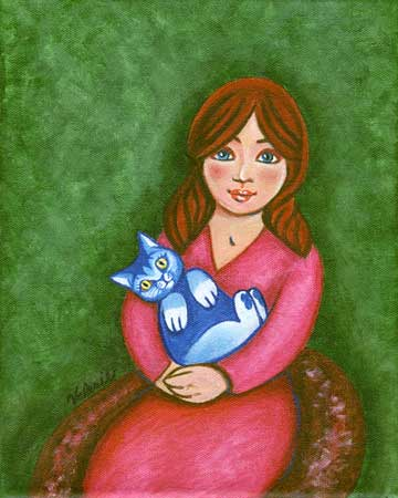 A larger view of Girl with Blue Cat
