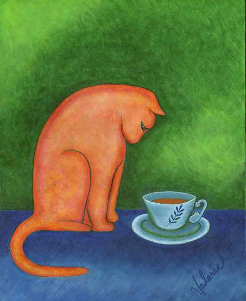 A larger view of Orange Cat with Teacup