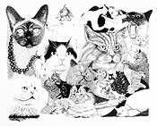 Ink drawing of cats
